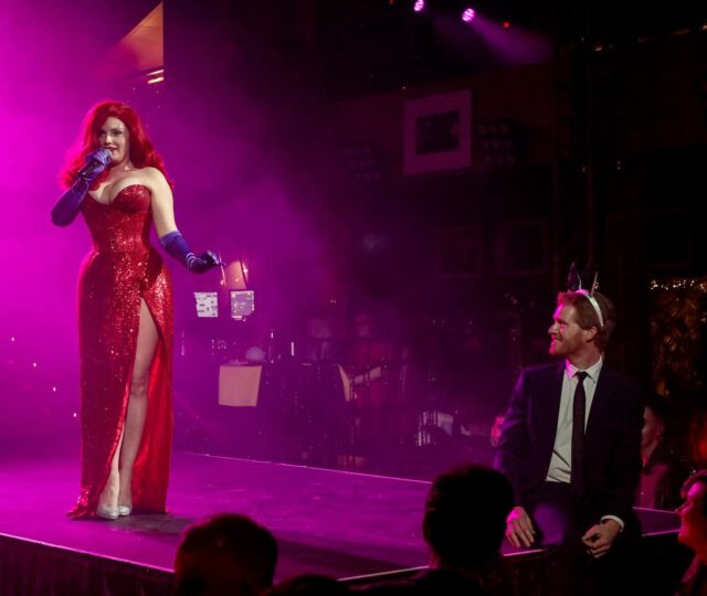 I miss seducing the audience with sultry singing and witty banter even if it is socially distanced @proudembankment  . . It's not every day you get to sing to a prince right !@theprinceharrylookalike. Thank you for being my Roger 🐰 . . Always an honour to play  the one and only Jessica Rabbit ❤️ . Photo by @brett_d_cove  . . #jessicarabbit #sing #whydontyoudoright #princeharry #royals #redhead #imnotbadimjustdrawnthatway #reddress #imisspeople #lockdownlife #proudembankment #londonlife