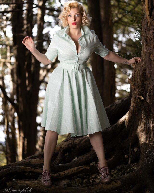 Don't lose your balance kid ! . . Life's after all . . . just about balance ⚖️ . . Photo by @85mmphoto  Dress by @british_retro  Model @miss_isabella_bliss  . . #britishretro #50sstyle #50sdress #summerdress #summervibes #modellife #greendress #blondehair #50shair #forest #pinktrainers #polkadots #dressoftheday #vintagestyle #redlips #oldhollywood