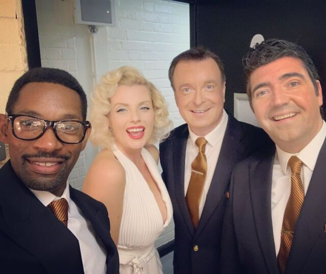 Thank you to the lovely @theratpackshow for having me yesterday at the wonderful @queenstheatrehornchurch. It was a real treat to join you guys 💕 . . #theratpackshow #crooner #tribute #singers #50sstyle #hornchurch #essexgirl #blondehair #theratpack #theatershow #liveshow #whitedress #franksinatra #deanmartin #sammydavisjr